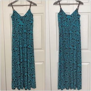 American Living Turquoise and Brown Maxi Dress